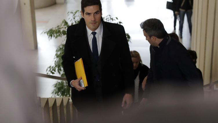 LePDG de Radio France Mathieu Gallet, lors de son arrivée au tribunal de Créteil (Val-de-Marne), le 16 novembre 2017. (THOMAS SAMSON / AFP)