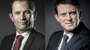 Combinaison de portraits de Benoît Hamon et de Manuel Valls. (JOEL SAGET / AFP)