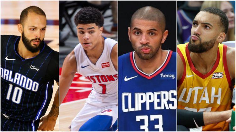 Evan Fournier (Orlando Magic), Killian Hayes (Detroit Pistons), Nicolas Batum (Los Angeles Clippers) et Rudy Gobert (Utah Jazz), quatre représentants du basket français en NBA