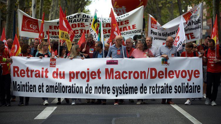 Une manifestation contre le projet de réforme des retraites, à Toulouse, le 24 septembre. (ALAIN PITTON / NURPHOTO)
