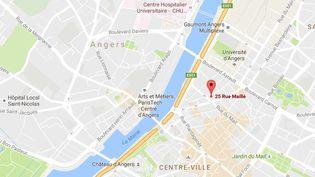 Localisationde l'immeuble dont un balcon s'est effondré, à Angers (Maine-et-Loire), le 15 octobre 2016. (GOOGLE MAPS)