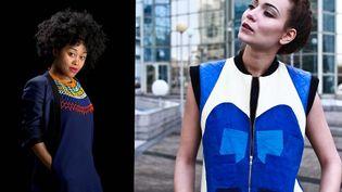 Portrait de Sakina M'Sa (à gauche) et veste sans manches en patchwork de tissus bleu klein  (DR)
