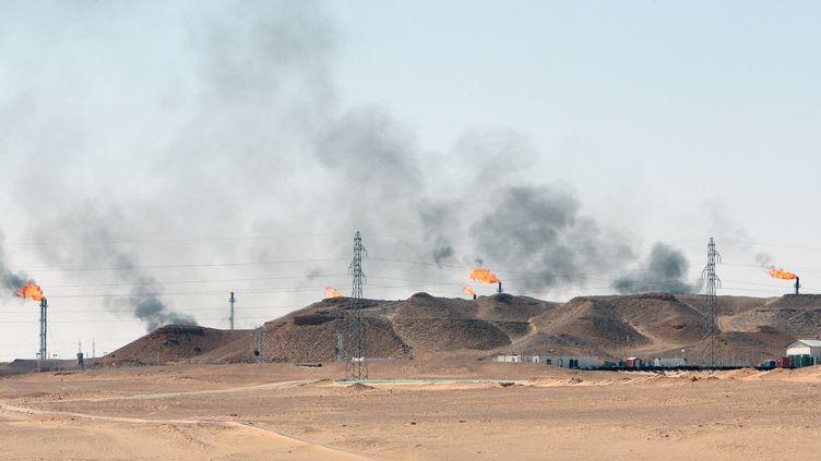 Des torchères de puits de pétrole à Hassi-Messaoud (Algérie). (NACERDINE ZEBAR / GAMMA-RAPHO)