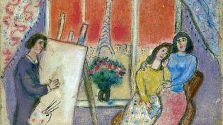 Marc Chagall. Le Peintre, Ida et Bella ou Le Peintre et sa famille, 1928-1929. Pastel sur toile. Collection particulière . (© Adagp, Paris, 20202021)