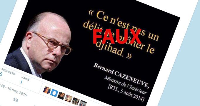 (Fausse citation attribuée à Bernard Cazeneuve © Capture d'écran Twitter)
