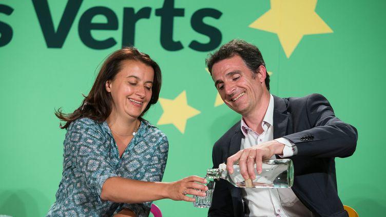 L'ancienne ministre Cécile Duflot et le maire de Grenoble Eric Piolle aux journées d'été d'Europe Ecologie-Les Verts à Bordeaux (Gironde), le 23 août 2014. (MAXPPP)