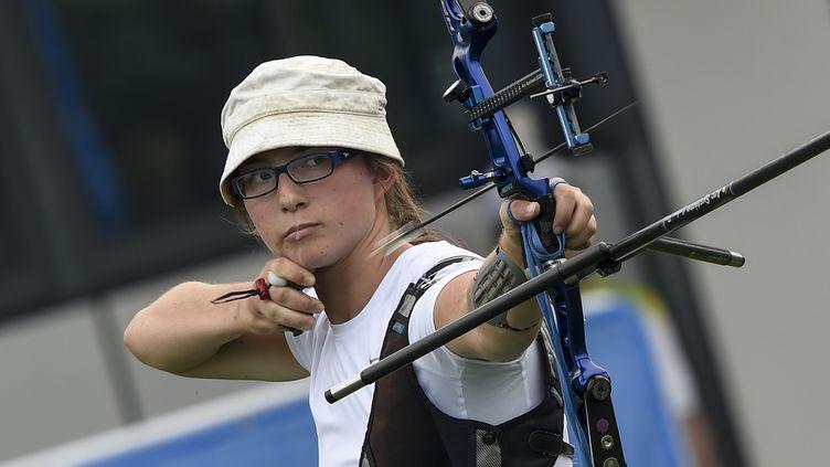 MélanieGaubil, archère française médaillée d'argent aux Jeux olympiques de la jeunesse en 2014, en Chine à Nanjing. (MAXPPP)