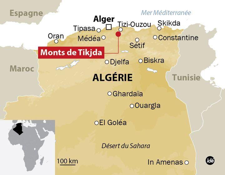 (Carte de localisation des monts de Tikjda  © Idé)