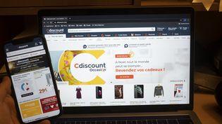 La page d'accueil de la plateforme en ligne CDiscount, photographiée en décembre 2020. (ANTOINE WDO / HANS LUCAS / AFP)