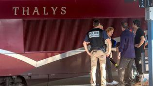 Le train Thalys Amsterdam-Paris attaqué le 21août 2015. (PHILIPPE HUGUEN / AFP)