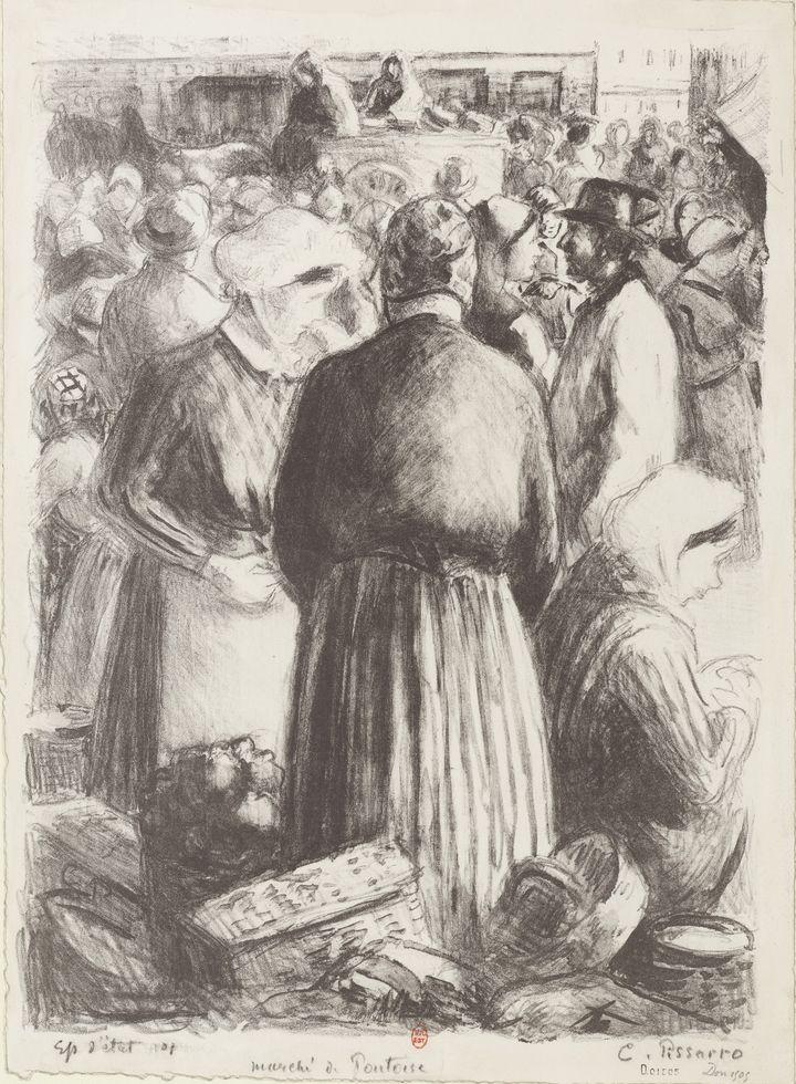 """""""Le marché de Gisors"""" (Pontoise) de Camille Pissarro, 1895, lithographie  (Bibliothèque nationale de France, département des Estampes et de la Photographie)"""
