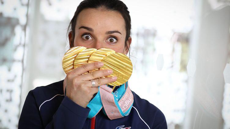 La skieuse Marie Bochet, quadruple médaillée d'or aux Jeux paralympiques de Pyonchang 2018. (FR?D?RIC DUGIT / MAXPPP)