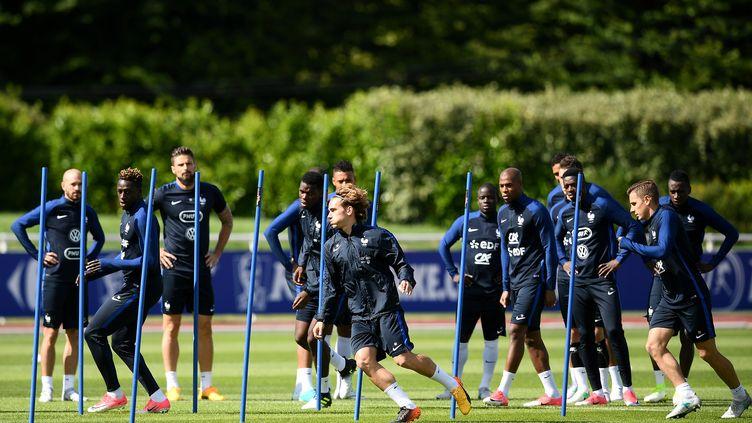 Les Bleus à l'entraînement à Clairefontaine (Yvelines), le 6 juin 2017. (FRANCK FIFE / AFP)