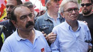 Philippe Martinez (CGT) et Jean-Claude Mailly (FO) lors de lamanifestation contre la loi Travail, près de la place de la Bastille, à Paris, le 23 juin 2016. (THIBAULT CAMUS / AP / SIPA)