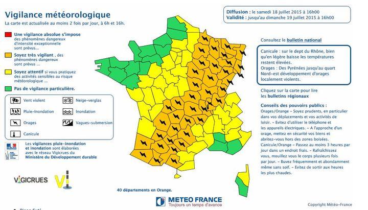 Quarante départements ont été placés en vigilance orange aux orages, le 18 juillet 2015. ( METEO FRANCE)