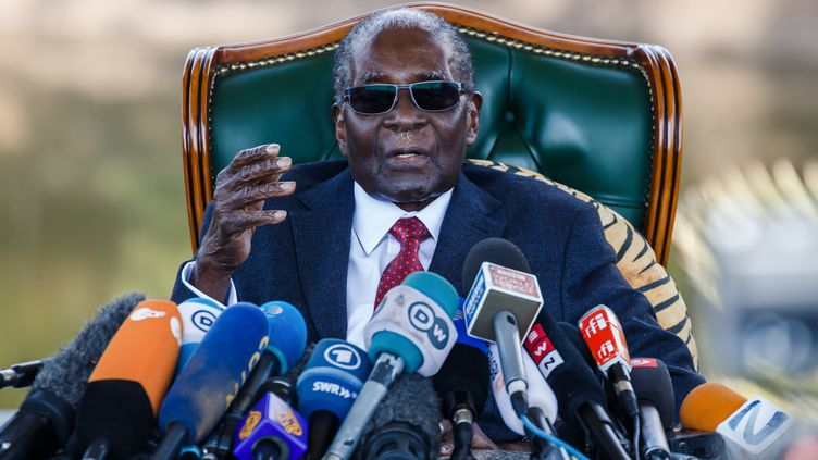 Robert Mugabe lors d'une conférence de presse à Harare (Zimbabwe), le 29 juillet 2018. (JEKESAI NJIKIZANA / AFP)