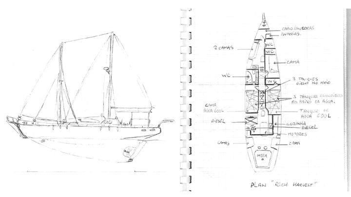 """Les plans du bateau """"Rich Harvest"""", dessinés dans le journal de prison d'Olivier Thomas. (RADIO FRANCE)"""