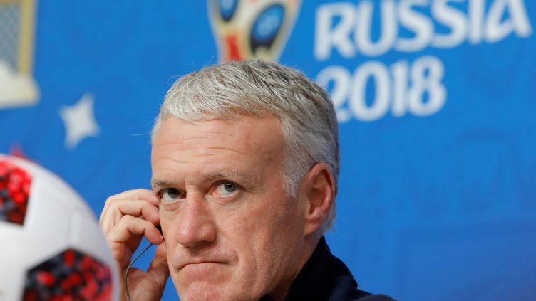 Didier Deschamps, sélectionneur de l'équipe de France, lors d'une conférence de presse, à Saint-Pétersbourg (Russie), le 9 juillet 2018. (MIKE KIREEV / NURPHOTO / AFP)