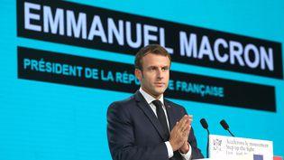 Emmanuel Macron lors du sommet de Lyon au Fonds mondial contre le sida, le paludisme et la tuberculose, jeudi 10 octobre 2019. (LUDOVIC MARIN / AFP)