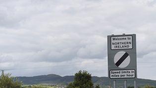 Un panneau à la frontière nord-irlandaise, en juin 2016 (CLODAGH KILCOYNE / REUTERS)