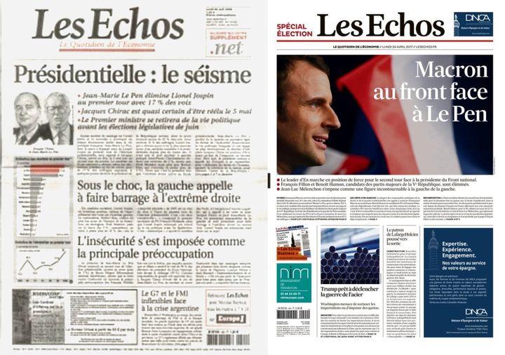 """Unes du quotidien """"Les Echos""""du 22 avril 2002 et du 24 avril 2017. (LES ECHOS)"""