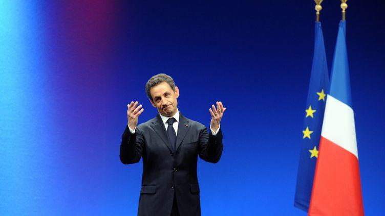 Le président-candidat UMP Nicolas Sarkozy à la fin du meeting à Montpellier (Hérault), le 28 février 2012. (PASCAL GUYOT / AFP)