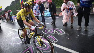 Le maillot jaune Tadej Pogacar lors de la 9e étape entre Cluses et Tignes, dimanche 9 juillet 2021. (PETE GODING / BELGA MAG / AFP)