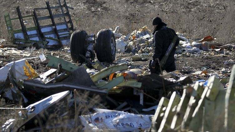 Un prorusse armé surveille la zone du crash du vol MH17 de la Malaysia Airlines en Ukraine, le 20 novembre 2014. (ANTONIO BRONIC / REUTERS )