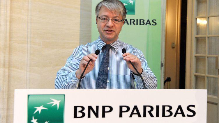 Le directeur général de la BNP Jean-Laurent Bonnafé, le 24 mars 2014 au siège de la banque à Paris. (ERIC PIERMONT / AFP)