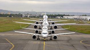 Des avions d'Airbus, le 29 mai 2019 à Toulouse (Haute-Garonne). (JEAN-VINCENT REYMONDON / AIRBUS / AFP)