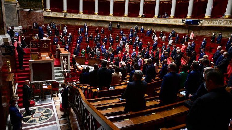 L'hémicycle de l'Assemblée nationale, le 11 mai 2021 à Paris. (MARTIN BUREAU / AFP)