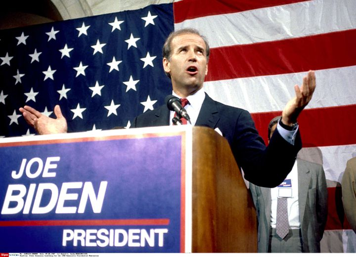 Joe Biden annonce sa candidature à la présidentielle, le 9 juin 1987, à Washington. (HOWARD L. SACHS / NEWSCOM / SIPA)
