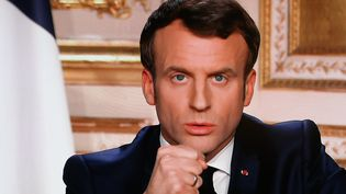 Le président de la République, Emmanuel Macron, s'exprime depuis l'Elysée sur la propagation du coronavirus, le 16 mars 2020. (LUDOVIC MARIN / AFP)