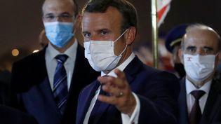 Emmanuel Macron à Beyrouth au Liban, le 1er septembre 2020. (GONZALO FUENTES / POOL)