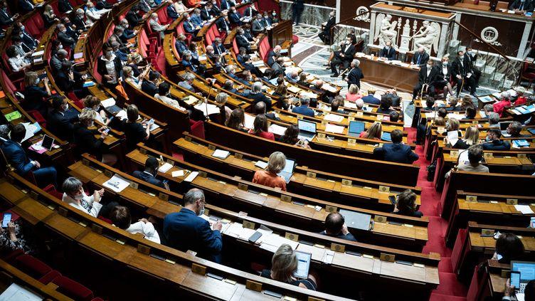 L'hémicycle de l'Assemblée nationale, lors des questions au gouvernement, le 28 juillet 2020. (XOS? BOUZAS / HANS LUCAS / AFP)