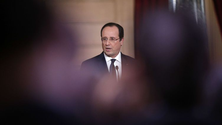 Le président de la République, François Hollande, lors de sa conférence de presse semestrielle, le 14 janvier 2014 à l'Elysée. (CHRISTOPHE ENA / AP / SIPA)