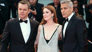 """Matt Damon, Julianne Moore et George Clooney à Venise pour présenter """"Suberbicon"""" (2 septembre 2017)  (Matteo Chinellato / Nurphoto / AFP)"""