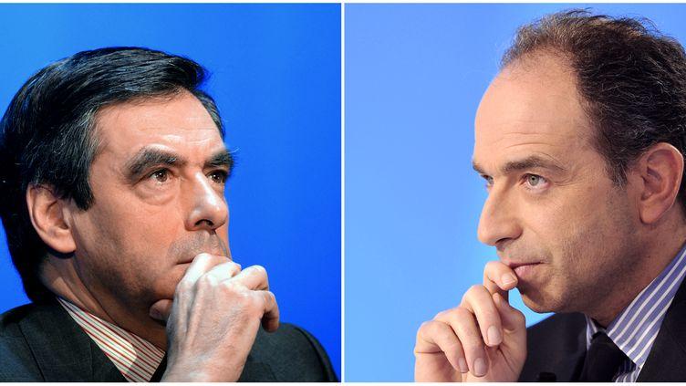 François Fillon (à gauche) et Jean-François Copé, les deux candidats à la présidence de l'UMP. (DAMIEN MEYER / AFP)