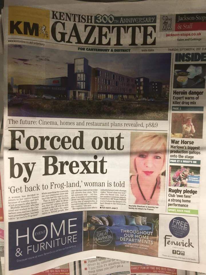 """Laune de """"The Kentish Gazette"""", sur laquelle apparaît Murielle Stentzel, une Française résidant alors dans le Kent. (MURIELLE STENTZEL)"""