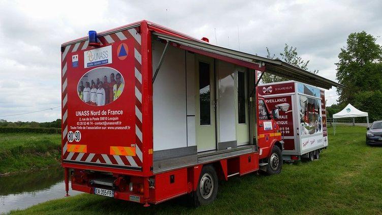 Photo du camion voléà Lesquin, près de Lille, postée sur le compte Facebook du président de l'association Georges Lampin. (Georges Lampin)