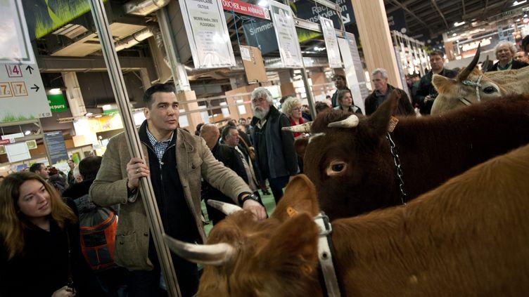 Frédéric Chatillon visite la 50e édition du Salon international de l'agriculture, à Paris, le 28 février 2013. (  MAXPPP)