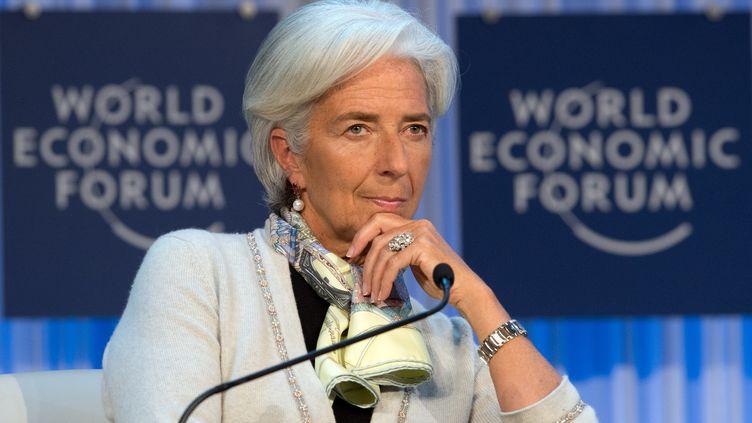 Christine Lagarde, ladirectrice générale du Fonds monétaire international (FMI), le 26 janvier 2013 à Davos (Suisse). (JOHANNES EISELE / AFP)