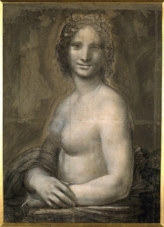 """""""Etude de nu feminin probablement la Joconde"""", dessin sur papier brun a la pierre noire de l'école de Leonard de Vinci, Chantilly, musée Condée  (Photo Josse / Leemage)"""