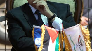 Le président de la Fifa, Joseph Blatter, le 20 mai 2015 lors d'un voyage officiel à Ramallah (Cisjordanie). (ABBAS MOMANI / AFP)