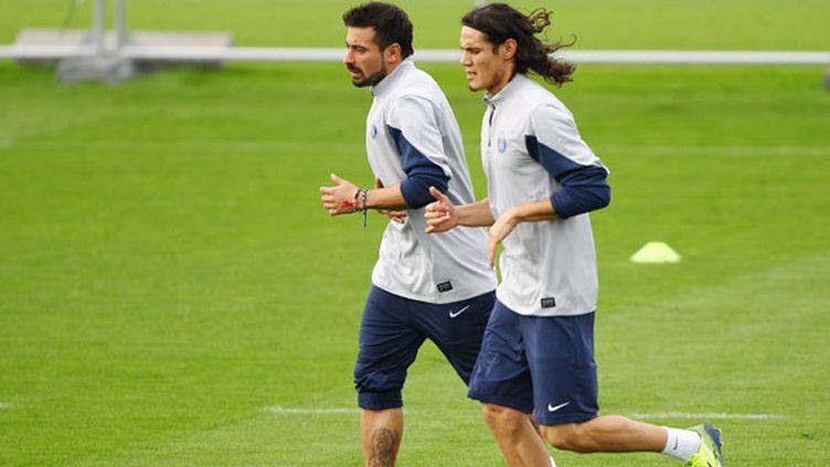 Les deux attaquants du PSG, Edinson Cavani et Ezequiel Lavezzi