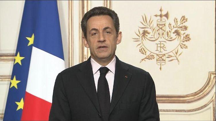 Capture d'écran du message vidéo adressé par Nicolas Sarkozy aux Polynésiens le 3 février 2012. (FTVi)