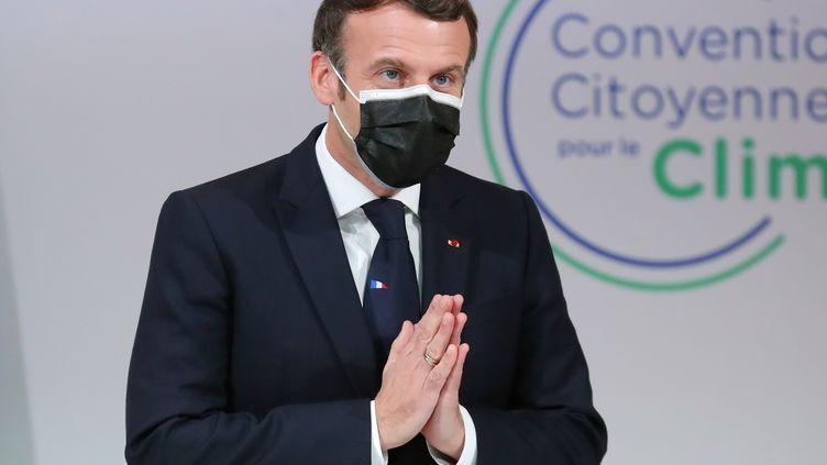 Emmanuel Macron lors de sa réunion avec la Convention citoyenne pour le climat, lundi 14 décembre 2020. (THIBAULT CAMUS / POOL)