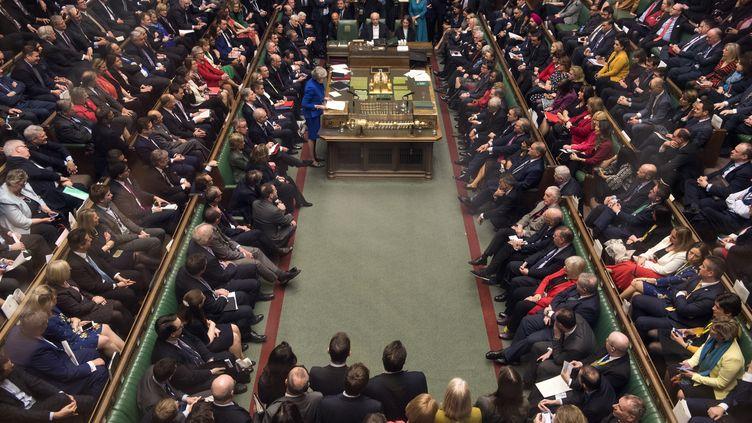 La première ministre britannique Teresa May donne un discours devant la chambre basse du parlement, le 16 janvier 2019. (MARK DUFFY / UK PARLIAMENT / AFP)