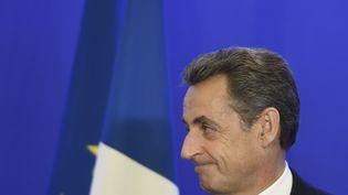 Nicolas Sarkozy, au siège du parti Les Républicains à Paris, le 13 décembre 2015. (ALAIN JOCARD / AFP)