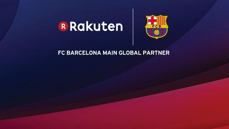 Le FC Barcelone et son nouveau sponsor, le groupe japonais Rakuten.